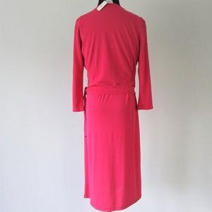 LOFT Dresses - NWT Ann Taylor Pink Wrap Shift Midi Dress SMALL